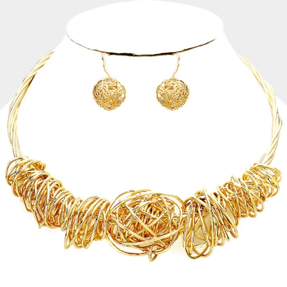 Jewelry - WIRE WRAPPED METAL STATEMENT NECKLACE